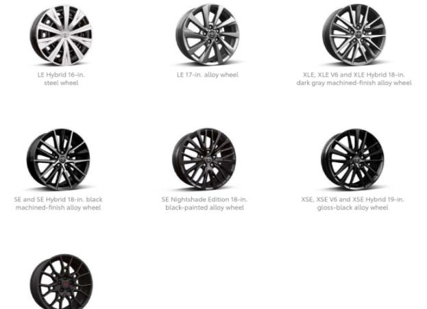 Toyota Camry Wheels Specs